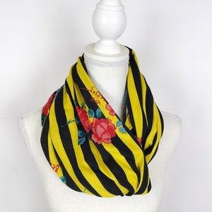 BETSEY JOHNSON Striped Floral Infinity Scarf